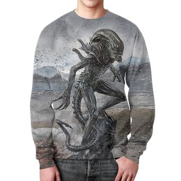 """Свитшот мужской с полной запечаткой """"ALIEN Design"""" - монстр, фантастика, чужой, пришелец, инопланетянен"""