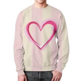 """Свитшот унисекс с полной запечаткой """"Сердце"""" - стиль, мода, полоски"""