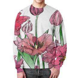 """Свитшот мужской с полной запечаткой """"Маки в цвету"""" - цветы, узор, весна, природа, цветочки"""
