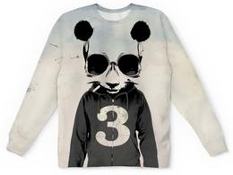 """Свитшот унисекс с полной запечаткой """"Третий """" - череп, панда, сигарета, три, третий"""