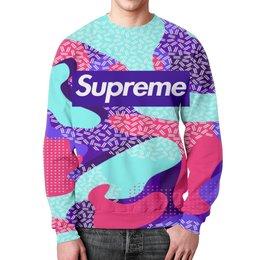 """Свитшот унисекс с полной запечаткой """"Supreme"""" - узор, краски, линии, суприм, supreme"""