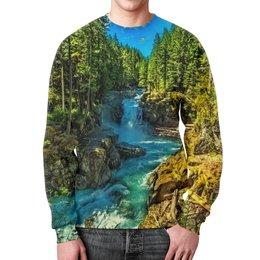 """Свитшот мужской с полной запечаткой """"Лесной пейзаж"""" - деревья, природа, горы, пейзаж, река"""