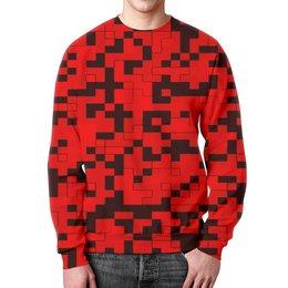 """Свитшот мужской с полной запечаткой """"красный камуфляж"""" - форма, камуфляж, военные, защитник, маскировка"""
