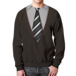 """Свитшот унисекс с полной запечаткой """"Пиджак"""" - прикол, галстук, пиджак, рубашка"""