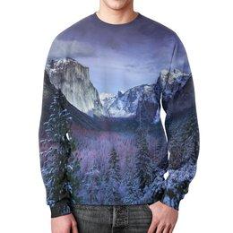 """Свитшот мужской с полной запечаткой """"Синие горы"""" - лес, природа, горы, пейзаж, скалы"""