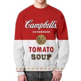 """Свитшот мужской с полной запечаткой """"Суп Кэмпбелл"""" - арт, поп арт, энди уорхол, суп кэмпбелл, campbells soup can"""