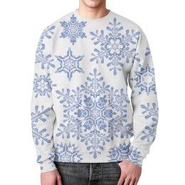 """Свитшот мужской с полной запечаткой """"Снежинки"""" - новый год, зима, снег, природа, рождество"""