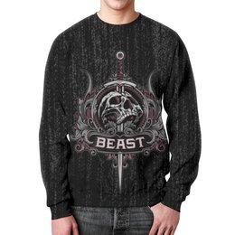 """Свитшот мужской с полной запечаткой """"Beast"""" - skull, череп, рок, rock"""