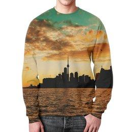"""Свитшот мужской с полной запечаткой """"Вечерний город"""" - море, город, природа, здания, мегаполис"""