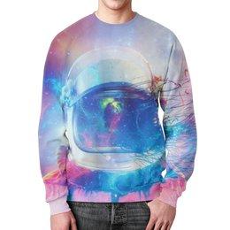 """Свитшот мужской с полной запечаткой """"Космонавт """" - звезды, космос, краски, космонавт"""