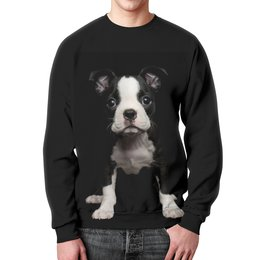 """Свитшот унисекс с полной запечаткой """"Черныш"""" - собака, щенок, акварель, черный, арт"""