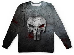 """Свитшот унисекс с полной запечаткой """"Каратель (Punisher)"""" - каратель, череп, skull, punisher, фрэнк кастл"""