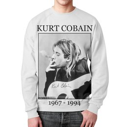"Свитшот мужской с полной запечаткой ""Курт Кобейн"" - музыка, nirvana, kurt cobain, курт кобейн, нирвана"