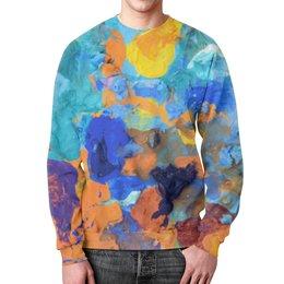 """Свитшот унисекс с полной запечаткой """"""""Застывшие яркие краски"""""""" - оранжевый, голубой, разноцветный, художник, пестрый"""