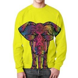 """Свитшот унисекс с полной запечаткой """"Саванный слон"""" - узор, слон, яркий, красочный"""