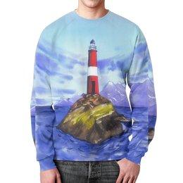 "Свитшот унисекс с полной запечаткой ""Маяк в море"" - синий, маяк"