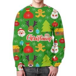 """Свитшот мужской с полной запечаткой """"Christmas"""" - праздник, новый год, рождество, снежинки, christmas"""