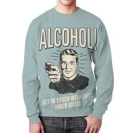 """Свитшот мужской с полной запечаткой """"Алкоголь"""" - приколы, алкоголь, прикольные, vintage, бармен"""