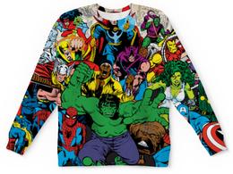 """Свитшот унисекс с полной запечаткой """"Marvel stories"""" - комиксы, герои, marvel, heroes, halk"""