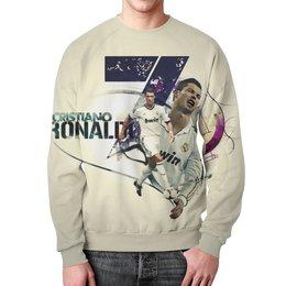 """Свитшот мужской с полной запечаткой """"Cristiano Ronaldo """" - футбол, футболист, криштиану роналду, фк реал мадрид"""