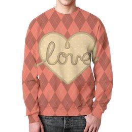 """Свитшот мужской с полной запечаткой """"Ромбы и сердце"""" - любовь, подарок, ко дню влюбленных, день влюбленных, на 14 февраля"""