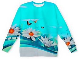 """Свитшот унисекс с полной запечаткой """"ромашки"""" - бабочки, цветы, узоры, весна, ромашки"""