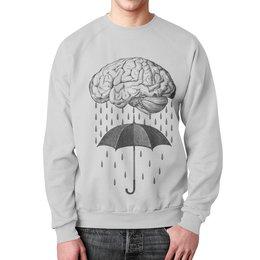 """Свитшот унисекс с полной запечаткой """"Brain rain"""" - мозг, дождь, зонт, арт, прикольные"""