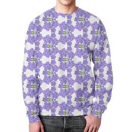 """Свитшот унисекс с полной запечаткой """"Фиалки"""" - цветы, фиолетовый, паттерн, фиалка"""