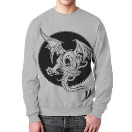 """Свитшот мужской с полной запечаткой """"Дракон"""" - дракон, рисунок, графика, фэнтэзи"""