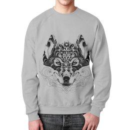 """Свитшот мужской с полной запечаткой """"Волк Стилизация"""" - рисунок, графика, волк, минимализм, чёрное и белое"""