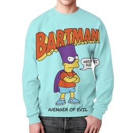 """Свитшот унисекс с полной запечаткой """"Бартмен"""" - прикольные, супергерои, симпсоны, барт симпсон, бартмен"""