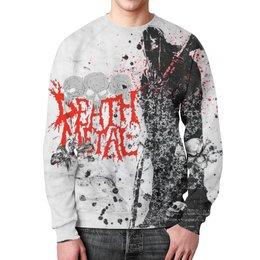 """Свитшот унисекс с полной запечаткой """"Death Metal (Смерть)"""" - череп, скелет, металл, metal, смерть"""