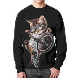 """Свитшот мужской с полной запечаткой """"Кот BMX"""" - приколы, спорт, коты, bmx, велосипед"""