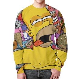 """Свитшот мужской с полной запечаткой """"гомер , симпсоны , The Simpsons , мультики"""" - мультики, гомер, симпсоны, the simpsons"""