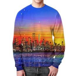 """Свитшот мужской с полной запечаткой """"Город"""" - город, краски, вода, здания, мегаполис"""