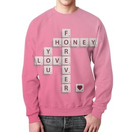 """Свитшот мужской с полной запечаткой """"Love forever"""" - любовь, с надписью, подарок, для влюбленных, на 14 февраля"""