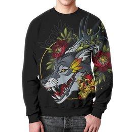 """Свитшот мужской с полной запечаткой """"Smiling Wolf"""" - волк, wolf"""