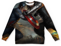 "Свитшот унисекс с полной запечаткой ""Капитан Америка "" - капитан америка, captain america, баки барнс, backy barnes"