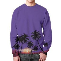 """Свитшот унисекс с полной запечаткой """"Острова в океане"""" - море, закат, яхта, острова, пальмы"""