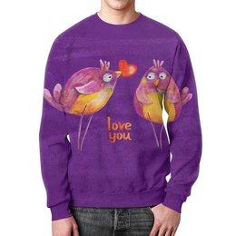 """Свитшот унисекс с полной запечаткой """"Влюбленные птички"""" - 14 февраля, птички, парные, love you"""