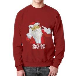 """Свитшот мужской с полной запечаткой """"Санта Клаус"""" - новый год, санта клаус, 2019"""