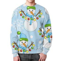 """Свитшот унисекс с полной запечаткой """"Снеговички с шариками в снегу."""" - праздник, новый год, зима, снег, снеговик"""