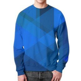 """Свитшот унисекс с полной запечаткой """"Синий абстрактный"""" - графика, синий, краски, абстракция, треугольники"""