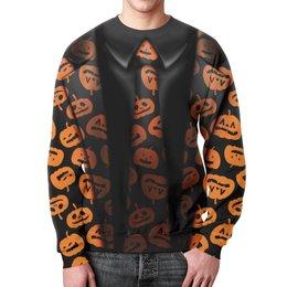"""Свитшот мужской с полной запечаткой """"Человек Тыква"""" - хэллоуин, тыква, костюм"""