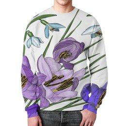 """Свитшот мужской с полной запечаткой """"Ирис в цвету"""" - цветы, узор, весна, природа, цветочки"""