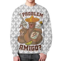 """Свитшот унисекс с полной запечаткой """"Проблемы амиго?"""" - змея, сериалы, клубные, мексика, револьвер"""