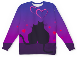 """Свитшот унисекс с полной запечаткой """"Cat's desire"""" - любовь, кошки, парные, ко дню влюбленных"""