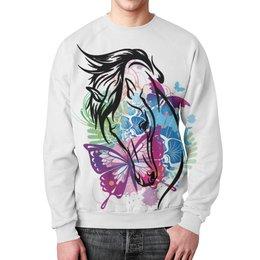 """Свитшот мужской с полной запечаткой """"Лошадь"""" - бабочка, лошадь, horse, конный спорт"""