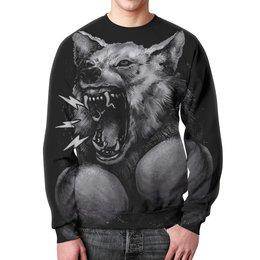 """Свитшот унисекс с полной запечаткой """"Волк Боксёр"""" - волк, оскал, бокс"""