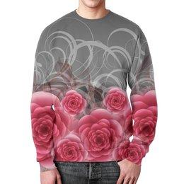 """Свитшот мужской с полной запечаткой """"Красные розы"""" - цветы, розы"""